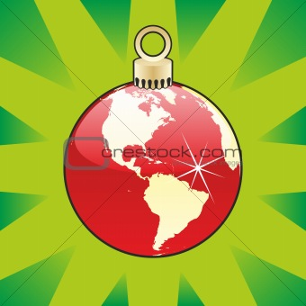 christmas bulb with world globe layout