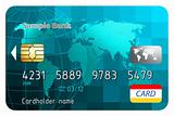 Credit cards, front view.