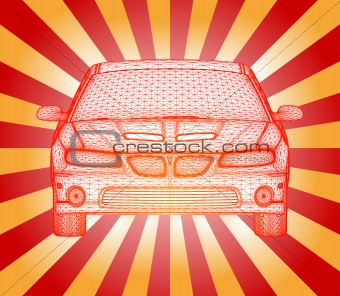 Car is red designed. Vector