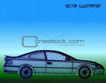 Car is designed. Vector background