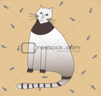 cat on fish  background