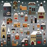christmas houses vector set