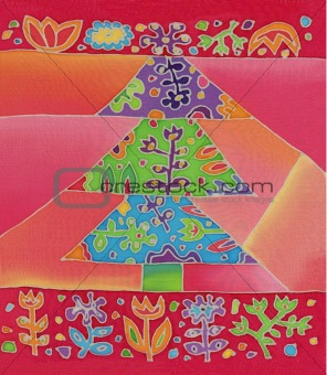 batik christmas tree