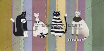 cats on striped background
