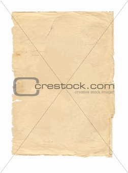 old piece of paper isolated