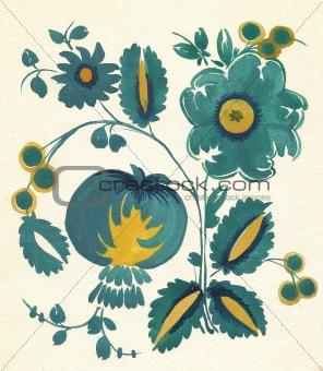 water-colour russian flower pattern