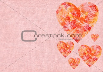 Heart with leaves on a canvas