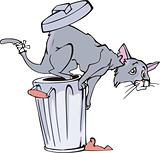 Cat and refuse bin cartoon