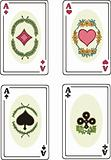 Full set of aces of playing cards