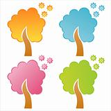 colorful floral trees