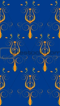Blue Orange Abstract Flower