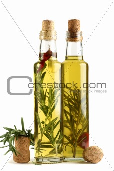 Olive oil with rosemary, garlic and pepper.