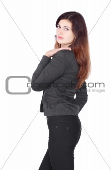 Beautiful Blond Wearing Blue Jeans And Black Shirt