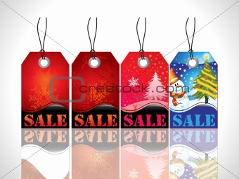 abstract christmas tag with red blue colors