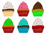 Colorful Cupcakes with Frosting and Chocolate Chips