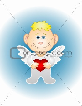 Boy angel with red heart