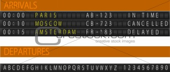 Airport mechanical schedule desk. Set of letters. EPS 10 Vector