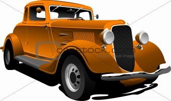 Old  orange car. Sedan. Vector illustration
