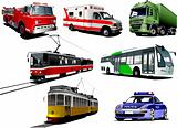 Set of municipal transport images. Vector illustration