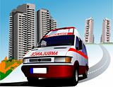 Dormitory and umbulance. Vector illustration
