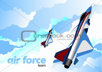 Air force team. Vector illustration