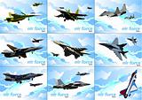 Nine posters of Air force team. Vector illustration