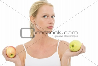 beautiful caucasian woman with apples in the hands