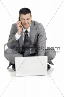 businessman with mobile and laptop