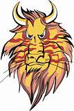 Horned lion head