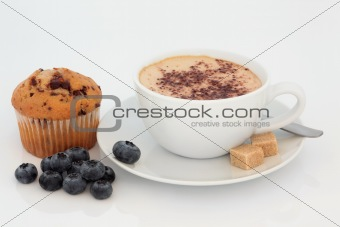 Cappuccino, Muffin and Blueberries