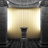 stone columns, pedestal and wallpaper