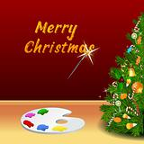 merry christmas card with color plate