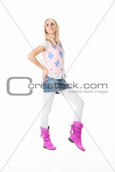 blond women over white background