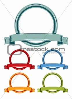Circle and ribbons cartoon emblem color set.