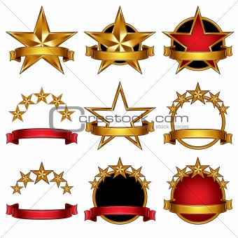 5 stars classic emblems set.