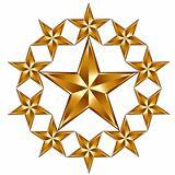 10 golden stars composition.