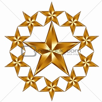 10 golden stars composition.