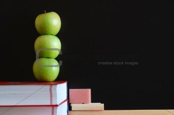 blank blackboard with apples