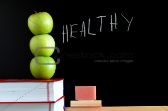 apples and chalkboard