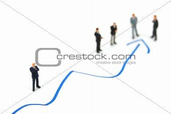 business people on chart background