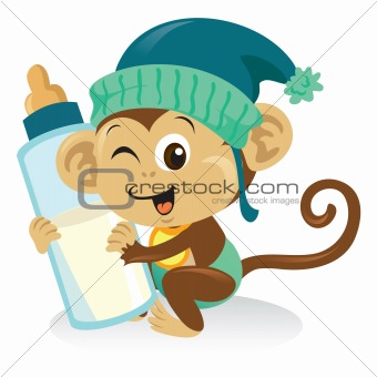 Baby Monkey With Milk Bottle
