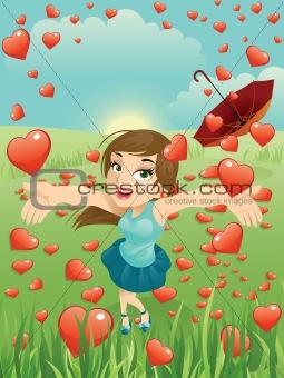Valentine Girl And Hearts Rain