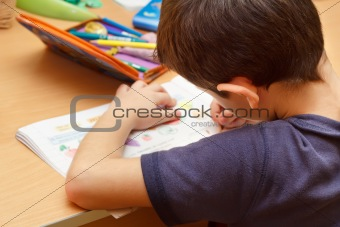 boy doing homework  with color pencil, painting fruits