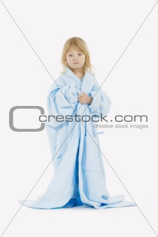 boy with long blond hair in bathrobe of his mother - isolated on white