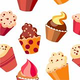 Seamless cupcake pattern