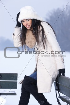 Beauty on snowy outdoors