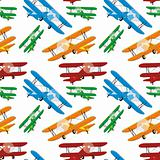 seamless pattern of colored airplaners