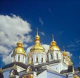 Gold domes of St. Michael cathedral. Kyiv, Ukraine.