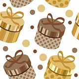Seamless pattern with gold round gift boxes