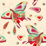 Seamless pattern with bright stylized butterflies
